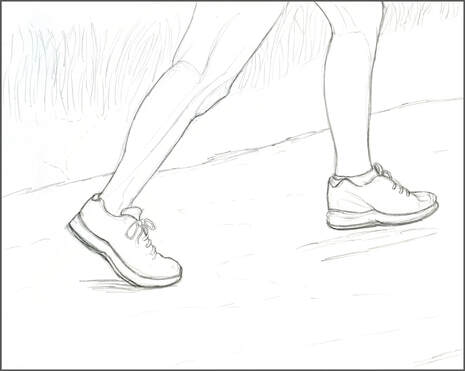 Running shoes sketch by Amanda Barnaby